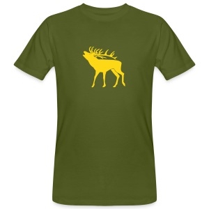 tiershirt t-shirt hirsch röhrender brunft geweih elch stag antler jäger junggesellenabschied förster jagd - Männer Bio-T-Shirt