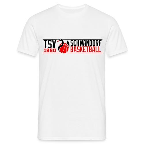 Spieler T-Shirt schwarz, Flockdruck weiß/neonrot - Männer T-Shirt