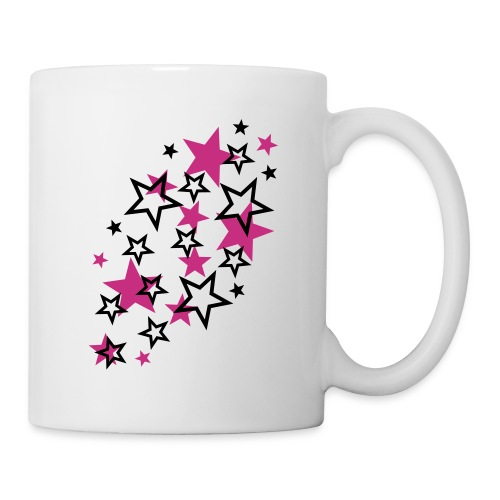 tasse a etoile noir et rose - Mug blanc