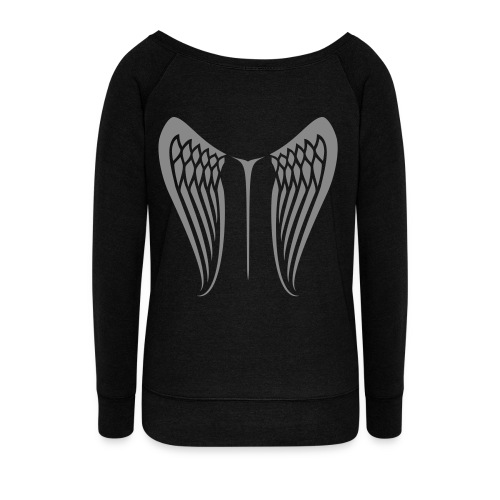 WingBeat-Silver Glitter - Women's Boat Neck Long Sleeve Top