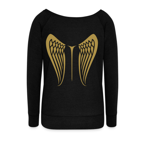 WingBeat-Gold Glitter - Women's Boat Neck Long Sleeve Top