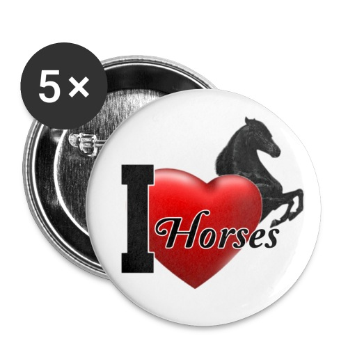 Button I love Horses - Buttons mittel 32 mm