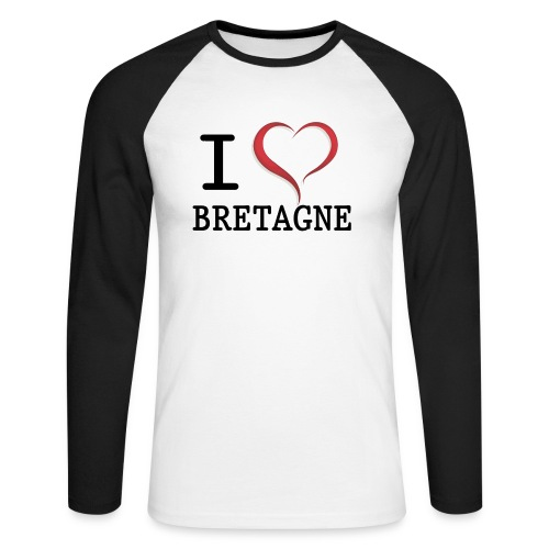 Tee shirt i love bretagne - T-shirt baseball manches longues Homme