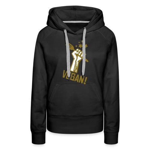 Womens Hoodie  'rising fist VEGAN' GOLD-GLOW - Frauen Premium Hoodie
