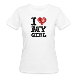 I Love my Girl vintage dark T-Shirts - Frauen Bio-T-Shirt