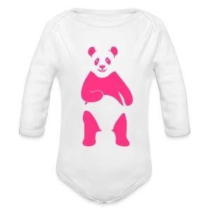 tier t-shirt panda teddy bär bärchen süß niedlich gesicht - Baby Bio-Langarm-Body