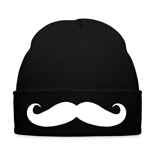 Black Beanie with White Tache Symbol - Winter Hat