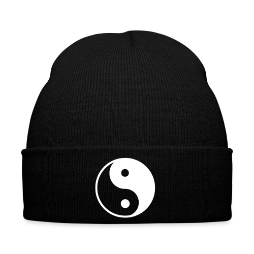 Black Beanie with Ying&Yang Symbol - Winter Hat