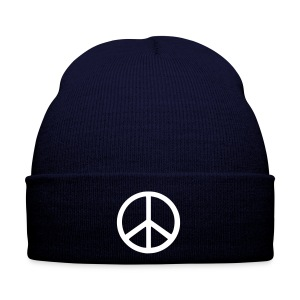 Blue Beanie with White Peace Symbol - Winter Hat
