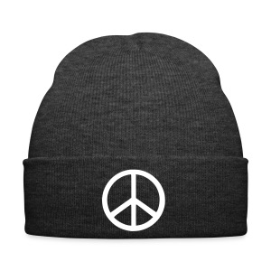 Grey Beanie with White Peace Symbol - Winter Hat