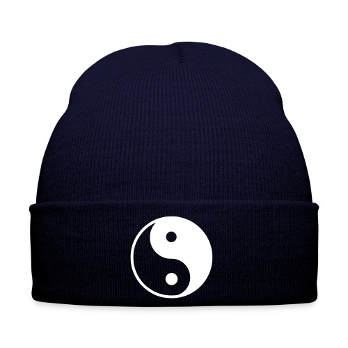 Blue Beanie with Ying&Yang Symbol - Winter Hat