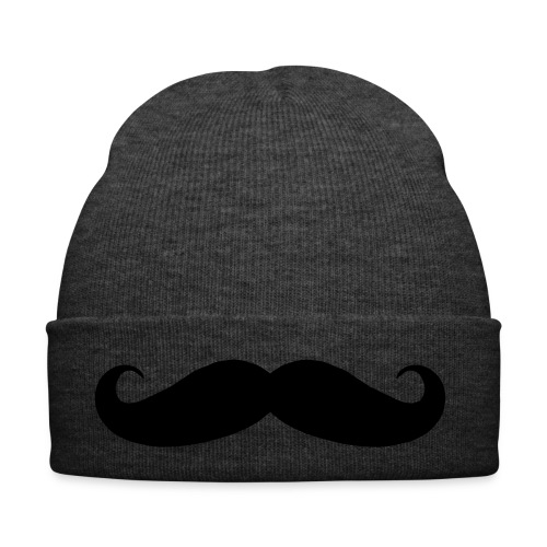 Grey Beanie with Black Tache Symbol - Winter Hat