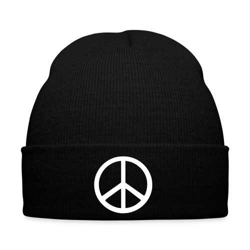 Black Beanie with White Peace Symbol - Winter Hat
