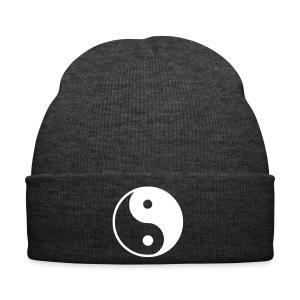 Grey Beanie with Ying&Yang Symbol - Winter Hat
