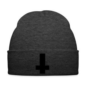 Grey Beanie with Black Reverse Cross  - Winter Hat