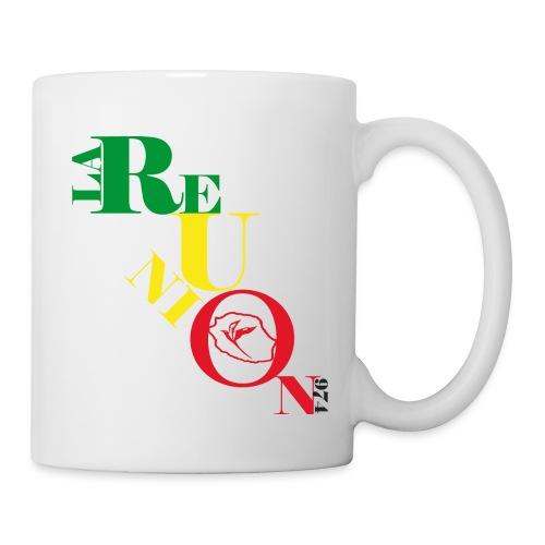 Tasse écriture Reunion -  974 - Rasta - Mug blanc