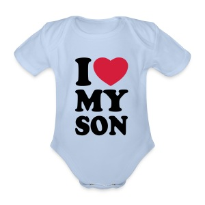 Baby Boy One-piece printed 'I Love My Son' - Organic Short-sleeved Baby Bodysuit