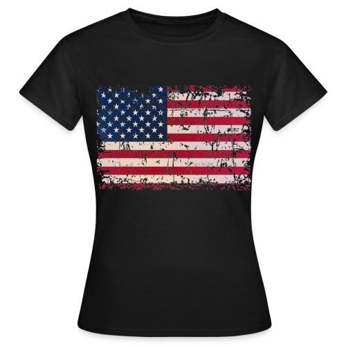 Ladies Black Faded American Flag T-Shirt - Women's T-Shirt