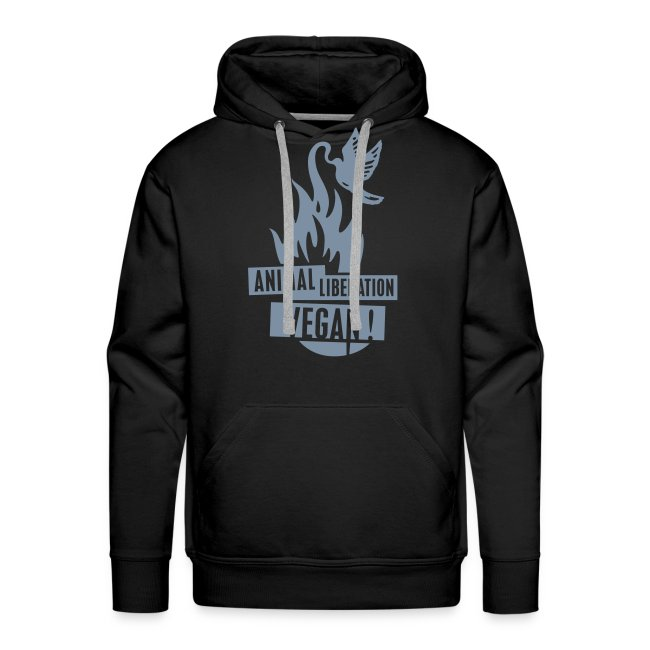 Mens Hoodie 'animal liberation vegan' SILVER