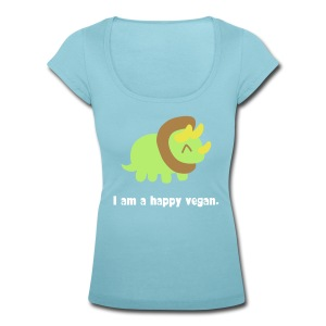 Adorable Dino (triceratops) with smiley eyes - Women's Scoop Neck T-Shirt