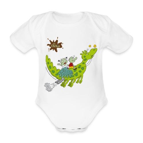Baby Bio-Kurzarm-Body - Ein offizielles Olchi - T-Shirt. Die Olchis vom Oetinger Verlag. Weitere tolle T-Shirts, Langarmshirts und Pullover von den Olchis aus Schmuddelfing und ihrem Drachen Feuerstuhl findet ihr im Olchis T-Shirt-Shop.