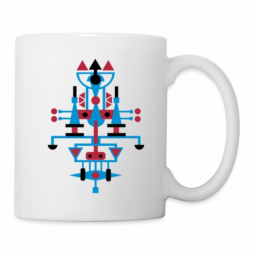 Mok met symetrisch figuur, rood, blauw, zwart - Mok