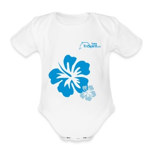 Leni Blumen Strampler blaues Logo - Baby Bio-Kurzarm-Body