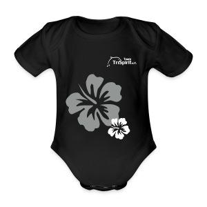 Leni Blumen2 Strampler weisses Logo - Baby Bio-Kurzarm-Body