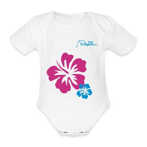 Leni Blumen2 Strampler blaues Logo - Baby Bio-Kurzarm-Body