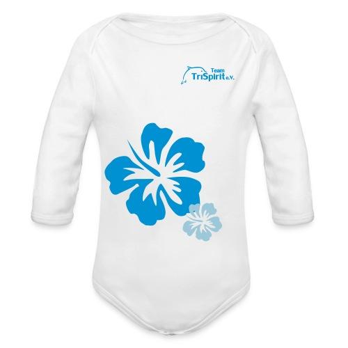 Leni Blumen Strampler langarm blaues Logo - Baby Bio-Langarm-Body