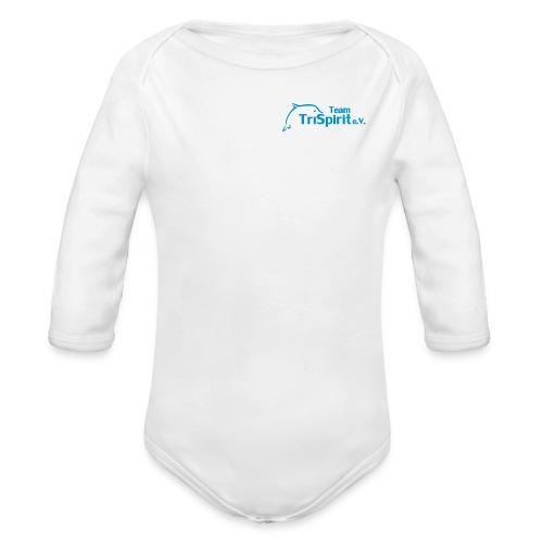Leni Strampler langarm blaues Logo - Baby Bio-Langarm-Body