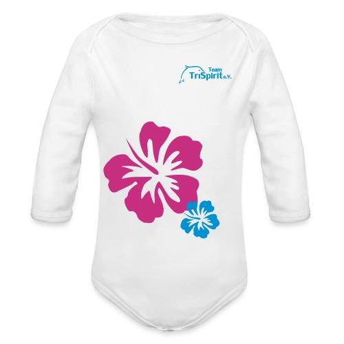 Leni Blumen2 Strampler langarm blaues Logo - Baby Bio-Langarm-Body