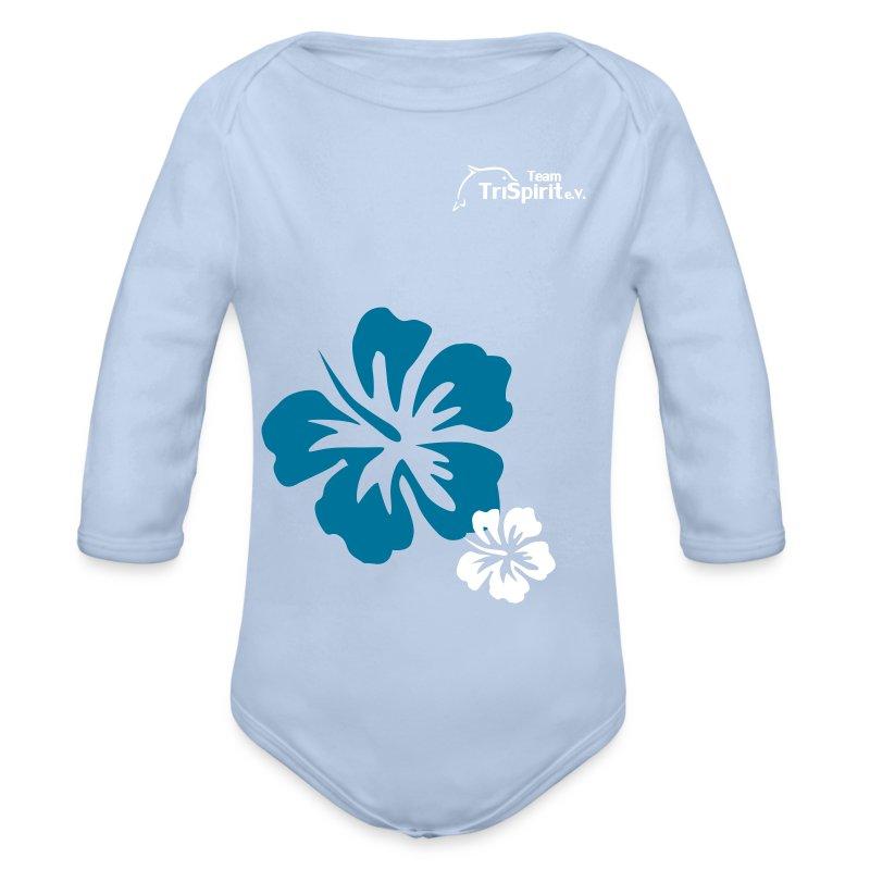 Leni Blumen2 Strampler langarm weisses Logo - Baby Bio-Langarm-Body