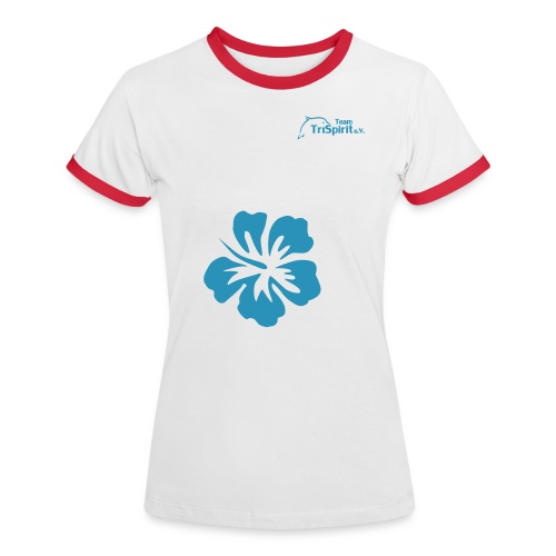 Cordula Kontrastshirt grosse Blume blaues Logo - Frauen Kontrast-T-Shirt