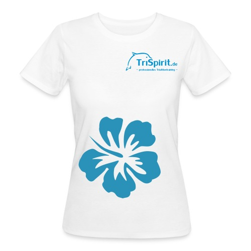 Cordula Bio grosse Blume blaues Logo - Frauen Bio-T-Shirt