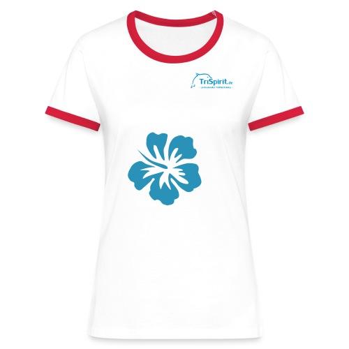 Cordula Kotnrastshirt grosse Blume blaues Logo - Frauen Kontrast-T-Shirt