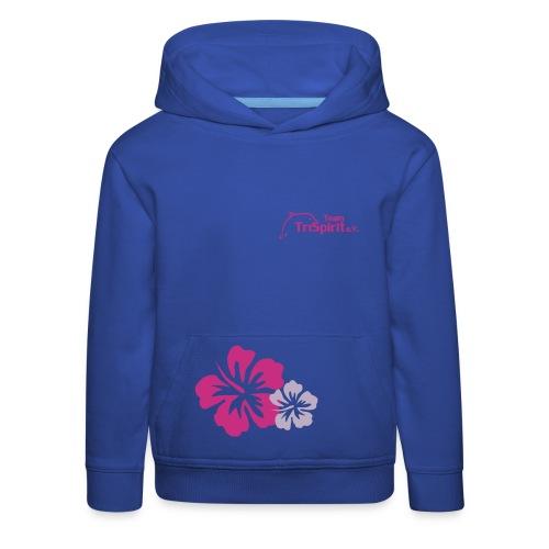 Leana special Blumen Pullover blaues Logo - Kinder Premium Hoodie