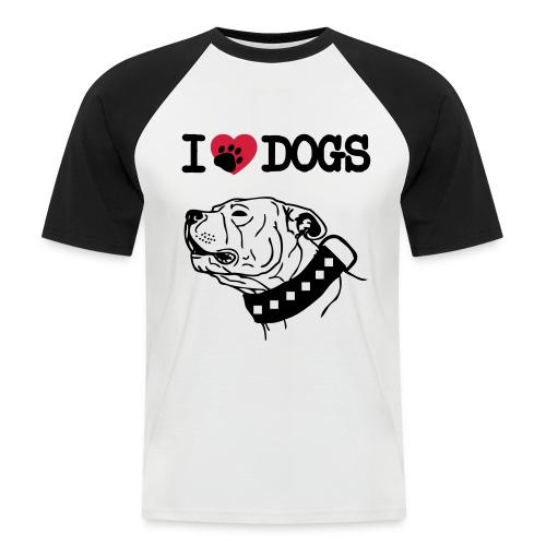T-Shirt I Love Dogs - Maglia da baseball a manica corta da uomo