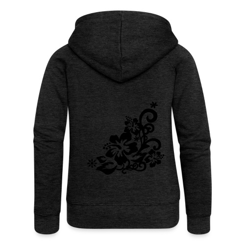 Hibiscus ZippHood (black) - Women's Premium Hooded Jacket