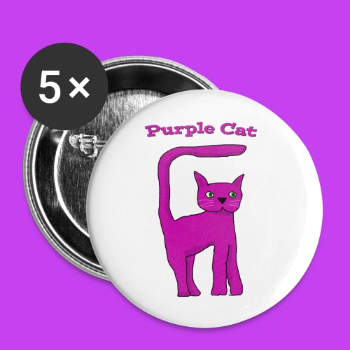Purple Cat Badges - Buttons small 1''/25 mm (5-pack)