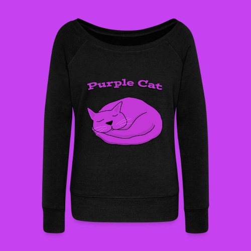 Purple cat sleeping ladies long sleeve fashion top - Women's Boat Neck Long Sleeve Top