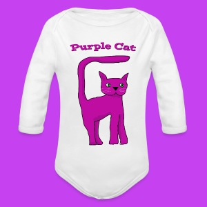 baby's onesie purple cat - Organic Longsleeve Baby Bodysuit