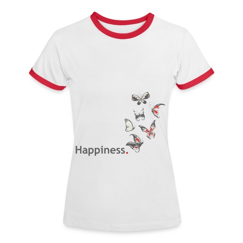 Happiness. Butterfly. Schmetterling. - Frauen Kontrast-T-Shirt