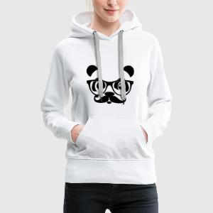 nerd panda with moustache and glasses Hoodies & Sweatshirts - Women's Premium Hoodie