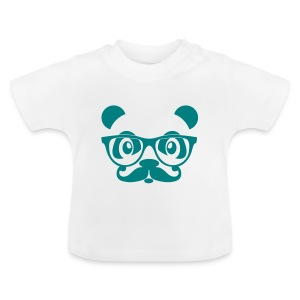 nerd panda with moustache and glasses Camisetas - Camiseta bebé