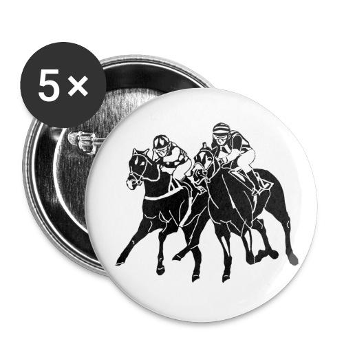 Buttons klein 25 mm (5er Pack) - Vollblut,Stallgemeinschaft,Stall,Rennverein,Rennsport,Pferdesport,Pferderennen,Jockey,Galopprennsport,Galopprennen,Galopper,Besitzer Besitzergemeinschaft