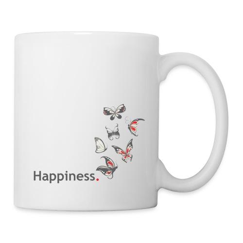 Happiness. Glück. Mit Schmetterling. - Tasse