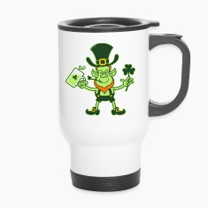 Leprechaun Drinking a Toast for St Patrick Bottles