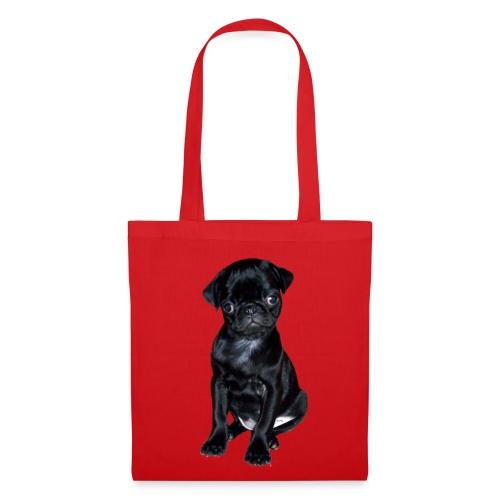 Textil-Tasche rot mit Mopsmotiv - Stoffbeutel