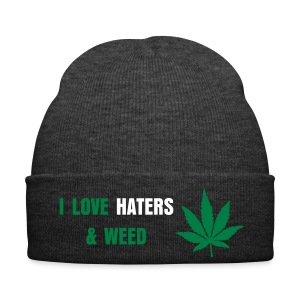 I LOVE HATERS & WEED - Bonnet d'hiver